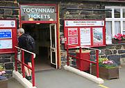 Entrance Ffestiniog and Welsh Highland Railway ticket office, Porthmadog, Gwynedd, north west Wales, UK