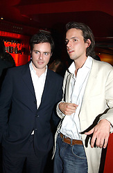 Left to right, HENRY DEEDES and CHARLIE GILKES at an Easter party hosted by Charlie Gilkes under the umbrella of his new PR/Events Company; 'Chic Vie' at trendy South Kensington Nightclub; 'Boujis' that is a favourite with Princes William and Harry and a host of other celebrities on 21st March 2005. Guests enjoyed a fruit martini reception on arrival and danced the night away until the early hours<br />