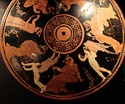 Athenian red-figure pottery, pyxis, fifth century BC. Cosmetic box decorated with women trying on jewellery accompanied by Erotes (love gods).