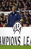 2/11/2004<br />UEFA Champion's League - Arsenal v  Panathiniakos - HIghbury<br />Arsenal manager Arsene Wenger complains at a descision during the match.<br />Photo:Jed Leicester/BPI (back page images)