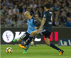 October 7, 2017 - Melbourne, Victoria, Australia - Adrian Mierzejewski (#11) of Sydney FC tries to get around Rhys Williams (#4) of Melbourne Victory in action during the round 1 match between Melbourne Victory and Sydney FC at Etihad Stadium in Melbourne, Australia during the 2017/2018 Australian A-League season. (Credit Image: © Theo Karanikos via ZUMA Wire)