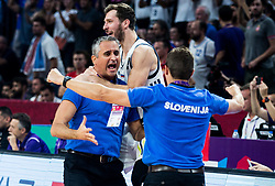 Igor Kokoskov, coach of Slovenia, Goran Dragic of Slovenia and Jaka Lakovic, assistant coach of Slovenia celebrating after winning during the Final basketball match between National Teams  Slovenia and Serbia at Day 18 of the FIBA EuroBasket 2017 when Slovenia became European Champions 2017, at Sinan Erdem Dome in Istanbul, Turkey on September 17, 2017. Photo by Vid Ponikvar / Sportida