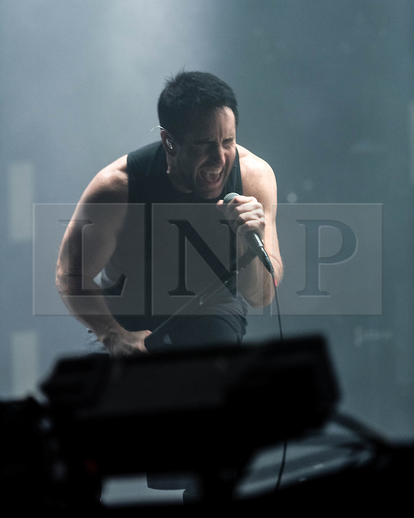 © Licensed to London News Pictures. 31/05/2014. Barcelona, Spain.   Nine Inch Nails performing live at Primavera Sound festival Day 4.  Nine Inch Nails (abbreviated as NIN) is an American industrial rock band, founded in 1988 by Trent Reznor who is its main producer, singer, songwriter, and instrumentalist.  Primavera Sound, or simply Primavera, is an annual music festival that takes place in Barcelona, Spain in late May/June within the Parc del Fòrum leisure site. Photo credit : Richard Isaac/LNP