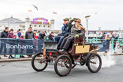 © Licensed to London News Pictures. 04/11/2016. Brighton, UK. Hundreds of vintage cars take part in the 122nd anniversary of the original Emancipation Run of 1896 , now known as the London to Brighton car run, which celebrated the passing into law of the Locomotives on the Highway Act so raising the speed limit for 'light automobiles' from 4mph to 14mph. The yearly event organised by the Royal Automobile Club sees cars drive from London to Brighton. Photo credit: Hugo Michiels/LNP