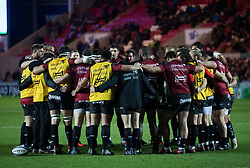 Toulon players huddlele during the pre match warm up<br /> <br /> Photographer Simon King/Replay Images<br /> <br /> European Rugby Champions Cup Round 6 - Scarlets v Toulon - Saturday 20th January 2018 - Parc Y Scarlets - Llanelli<br /> <br /> World Copyright © Replay Images . All rights reserved. info@replayimages.co.uk - http://replayimages.co.uk