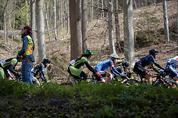 Sheyla Gutierrez through the trees at the Liege-Bastogne-Liege Femmes - a 135.5 km road race between Bastogne and Ans on April 23 2017 in Liège, Belgium.
