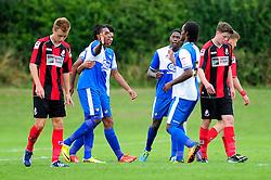 Bristol Rovers' U18s  Chad Douglas celebrates with his team mates after scoring - Photo mandatory by-line: Dougie Allward/JMP - Tel: Mobile: 07966 386802 17/08/2013 - SPORT - FOOTBALL - Bristol Rovers Training Ground - Friends Life Sports Ground - Bristol - Academy - Under 18s - Youth - Bristol Rovers U18s V Bournemouth U18s