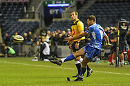 Conversion kick for Josh Lewis during the Guinness Pro 14 2018_19 match between Edinburgh Rugby and Dragons Rugby at Murrayfield Stadium, Edinburgh, Scotland on 15 February 2019.
