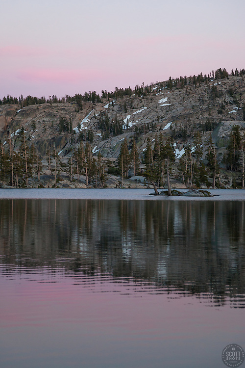 """""""Paradise Lake Sunset 2"""" - Photograph of Paradise Lake in the Tahoe National Forest taken at sunset."""