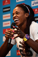 Caterine Ibarguen of Colombia answers questions during the Press Conference of the Diamond league, Meeting Areva 2015, at Mercure Paris Centre Eiffel, Paris, France, on July 3, 2015 - Photo Jean-Marie Hervio / KMSP / DPPI