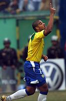 25/07/04 - LIMA - PERU -  COPA AMERICA PERU 2004 -  BRASIL - BRAZIL (5) win by penalty  over ARGENTINA (3) - BRAZIL CHAMPION CELEBRATION.<br />brazilian N*7 ADRIANO celebrating his penalty goal.<br />©G.P./Argenpress.com