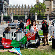 2021-09-11 Parliament square, London, UK. Three Afghan women went on hunger strike to tell the British government to stop supporting terrorists proxy war in Afghanistan. Afghanistan want peace enough is enough.
