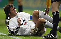 29/2/2004 Madrid, Spain.<br />La Liga (Spanish League) 26 day.<br />R.Madrid 4 - Celta 2<br />R.Madrid's Raul on the grass at Santiago Bernabeu's Stadium.