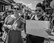 "New Orleans, Aug 19, 2017 , People supportings  ""Take Em Down NOLA"", a group that is  calling for all signs of white supremacy that remain in New Orleans to be removed march through the French Quarter."