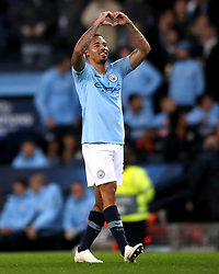 Manchester City's Gabriel Jesus celebrates scoring his side's sixth goal of the game