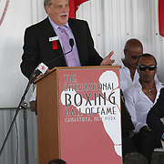 Inductee and broadcaster Al Bernstein gives his induction speech during the 23rd Annual International Boxing Hall of Fame Induction ceremony at the International Boxing Hall of Fame on Sunday, June 10, 2012 in Canastota, NY. (AP Photo/Alex Menendez)