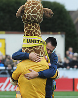Football - 2016 / 2017 FA Cup - Fourth Round: Sutton United vs. Leeds United<br /> <br /> Sutton Manager Paul Doswell hugs Sutton Mascot 'Jenny'  at Gander Green Lane.<br /> <br /> COLORSPORT/ANDREW COWIE