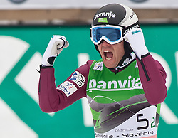 19.03.2011, Planica, Kranjska Gora, SLO, FIS World Cup Finale, Ski Nordisch, Skiflug Teambewerb, im Bild Jernej Damjan (SLO) // Jernej Damjan (SLO) celebrate during team event of the Ski Jumping World Cup finals in Planica, Slovenia, 19/3/2011. EXPA Pictures © 2011, PhotoCredit: EXPA/ J. Groder