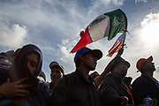 The part of Centeral American migrant caravan march at the El Chaparral border crossing near the US-Mexico border in Tijuana, Mexico on November 22, 2018 during their protest in hopes of seeking asylum in the US.