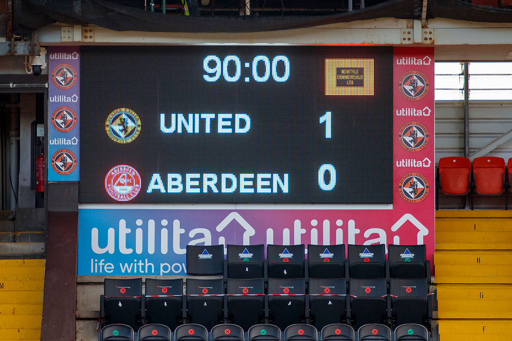 DUNDEE, SCOTLAND, MARCH 20, 2020:  Dundee Utd V Aberdeen FC Ladbrokes SPFL Premiership fixture at Tannadice Park, Dundee.<br /> <br /> Pictured: Th Final Score<br /> <br /> <br /> (Photo: Newsline Media)