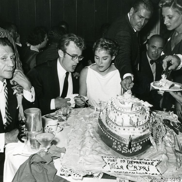 1955 James Dean and Ursula Andress at the Villa Capri Restaurant
