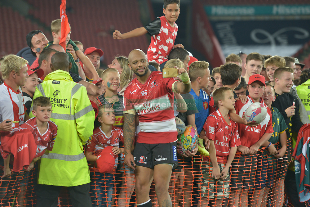 070418 Emirates Airlines Park, Ellis Park, Johannesburg, South Africa. Super Rugby. Lions vs Stormers. Lionel Mapoe takes a selfie with fans during a meet and greet after the game.<br />Picture: Karen Sandison/African News Agency (ANA)