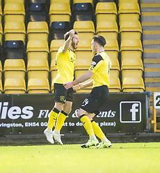 Livingston Liam Buchanan (19) cele scoring their goal. <br /> Livingston 1 v 1 Falkirk, Scottish Championship game at The Tony Macaroni Arena at 23/1/2016.