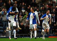 Photo: Paul Greenwood.<br />Blackburn Rovers v West Ham United. The Barclays Premiership. 17/03/2007.<br />Blackburn's Christopher Samba (No.21) celebrates his goal with Benni McCarthy and Morten Gamst Pederson (R)