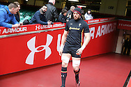 Wales captain Alun Wyn Jones walks down the tunnel to pitchside for theWales Rugby captains run, ahead of tomorrows RBS Six nations match against England. Principality Stadium, Cardiff, South Wales on Friday 10th Feb 2017.   pic by  Andrew Orchard, Andrew Orchard sports photography.