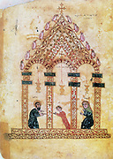 Presentation of Christ in the Temple. After 13th century Armenian manuscript of the Gospels.
