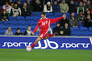 Joe Allen of Wales. Wales v Scotland, friendly international football match at the Cardiff City stadium, Cardiff, Wales, UK on Sat 14th Nov 2009.  pic by Andrew Orchard, Andrew Orchard sports photography