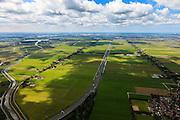 Nederland, Noord-Holland, Gemeente Purmerend, 14-06-2012; polder Wijdewormer, droogmakerij uit de 17e eeuw. Het oorspronkelijke landschap is aangetast door de aanleg van autosnelweg A7..Wijdewormer polder, reclaimed land dating from the 17th century. The original landscape has been affected by the construction of motorway A7..luchtfoto (toeslag), aerial photo (additional fee required);.copyright foto/photo Siebe Swart