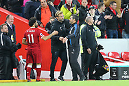 Liverpool Manager Jurgen Klopp (l) and Huddersfield Town Manager David Wagner shake hands after the game. Premier League match, Liverpool v Huddersfield Town at the Anfield stadium in Liverpool, Merseyside on Saturday 28th October 2017.<br /> pic by Chris Stading, Andrew Orchard sports photography.