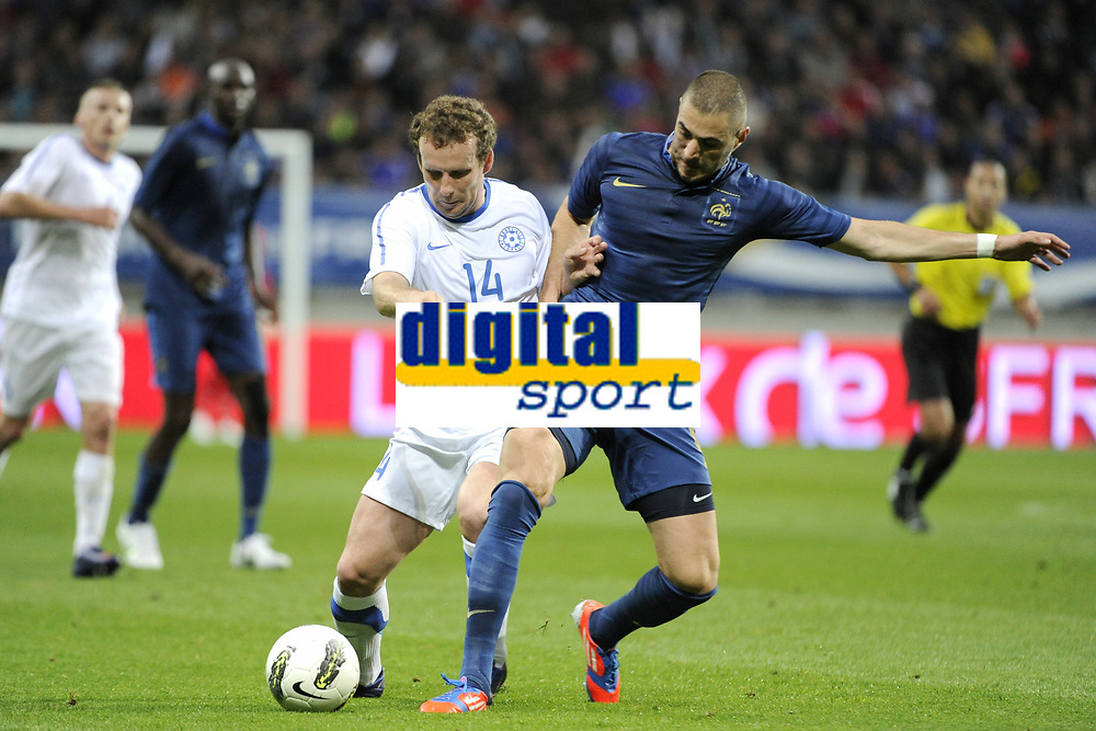 FOOTBALL - INTERNATIONAL FRIENDLY GAMES 2011/2012 - FRANCE v ESTONIA  - 5/06/2012 - PHOTO JEAN MARIE HERVIO / REGAMEDIA / DPPI - KONSTANTIN VASSILJEV (EST) / KARIM BENZEMA (FRA)