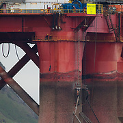 Greenpeace activists board a BP oil rig in Cromarty Firth to stop it from further oil drilling at sea, June 9th 2019, Cromarty, Scotland, United Kingdom. The oil rig 'Paul B. Loyd, Jnr', owned by Transocean, was due to head to BP's Vorlich field, 150 miles (241km) east of Aberdeen to drill for oil for BP. The occupation by Greenpeace activists subsequently delayed the departure for 5 days and 14 activists were arrested in the process. Greenpeace says that in an age of climate emergency BP should not be drilling for new oil but look for non-fossil fuel means of energy.