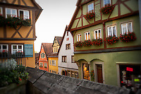 Rooftop view of the colorful Tudor style buildings and flowers of Rothenburg, Germany