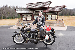 Hans Coertse of South Africa with his 976c twin cylinder 1913 Matchless Model 5B Motorcycle at the top of Wolf Creek pass during the Motorcycle Cannonball Race of the Century. Stage-10 ride from Pueblo, CO to Durango, CO. USA. Tuesday September 20, 2016. Photography ©2016 Michael Lichter.