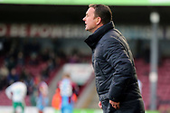 Plymouth Argyll Manager Derek Adams during the EFL Sky Bet League 1 match between Scunthorpe United and Plymouth Argyle at Glanford Park, Scunthorpe, England on 27 October 2018. Pic Mick Atkins