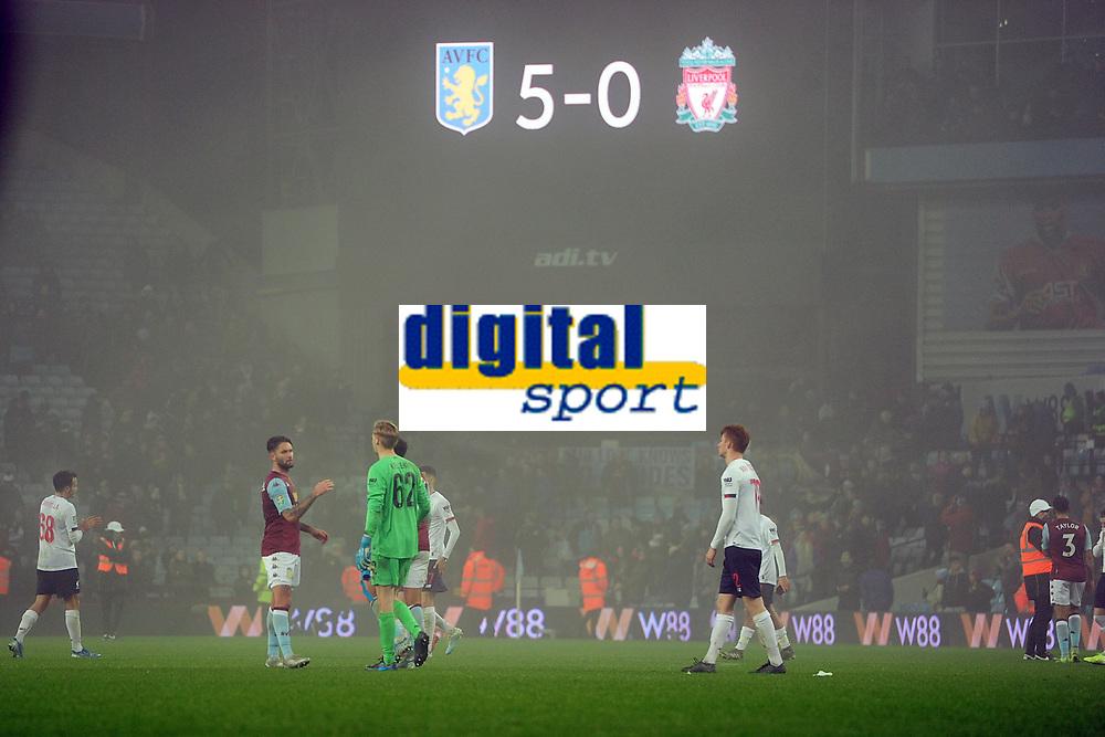 Football - 2019 / 2020 EFL Carabao (League) Cup - Quarter-Final: Aston Villa vs. Liverpool<br /> <br /> 5-0 The final score, at Villa Park.<br /> <br /> COLORSPORT/ANDREW COWIE
