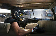 NEWS&GUIDE PHOTO / PRICE CHAMBERS<br /> Shaun King braces for impact as a remote camera captures what it's like inside a demolition derby car during the second heat of the event.