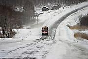 Khabarovsk, Russia, 29/02/2004.&#xD;Truck convoys transport timber on the  Khabarovsk to Vladivostok highway in a snow blizzard.<br />