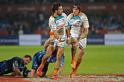 PRETORIA, South Africa, 28 May 2011. Robert Ebersohn puts Corne Uys of the Cheetahs in a gap during the Super15 Rugby match between the Bulls and the Cheetahs at Loftus Versfeld in Pretoria, South Africa on 28 May 2011..Photographer : Anton de Villiers / SPORTZPICS
