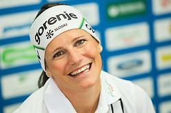 Katja Visnar, Slovenian cross country skier at press conference when she announced her pregnancy with Ola Vigen Hattestad, Norwegian cross country skier, on June 1, 2015 in SZS, Ljubljana Slovenia. Photo by Vid Ponikvar / Sportida