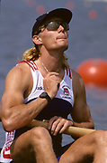Atlanta, USA. GBR M4- Bow, Tim FOSTER. On the start line, Heats, 1996 Olympic Rowing Regatta Lake Lanier, Georgia, USA.  [Mandatory Credit Peter Spurrier/ Intersport Images]