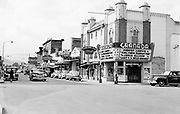 """9305-A4515. """"Looking west on Second St."""" (Granada Theatre. East Second St. & Washington St. 1948). The Dalles, Oregon."""