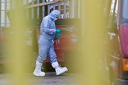 © Licensed to London News Pictures. 05/06/2017. LONDON, UK.  A police forensic officer at an address on Ripple Road in Dagenham. Police carried out a raid at a Dagenham address early this morning in connection with the London Bridge terror attacks and residents reported hearing gun shots.  Photo credit: Vickie Flores/LNP