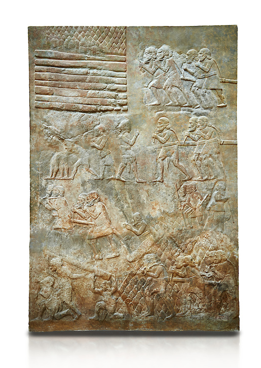 Stone relief sculptured panel of cedar of Lebanon being transported. From the northern courtyard,  Inv AO 19888 from Dur Sharrukin the palace of Assyrian king Sargon II at Khorsabad, 713-706 BC.  Louvre Museum Room 4 , Paris .<br /> <br /> If you prefer to buy from our ALAMY PHOTO LIBRARY  Collection visit : https://www.alamy.com/portfolio/paul-williams-funkystock/ancient-assyria-antiquities.html  Refine search by adding background colour, place, subject, museum etc into the LOWER SEARCH WITHIN GALLERY box to <br /> <br /> Visit our ANCIENT ASSYRIAN PHOTO COLLECTIONS for more photos to download or buy as wall art prints https://funkystock.photoshelter.com/gallery-collection/Ancient-Assyrian-Art-Artefacts-Antiquities-Historic-Sites-Pictures-Images-of/C0000cjRqQyJjLag