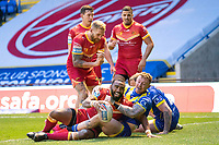 Rugby League - 2020 Super League - Round 13 - Warrington Wolves vs Catalan Dragon<br /> <br /> Catalans Dragons's Samisoni Langi celebrates scoring his sides second try,   at the Halliwell Jones Stadium, Warrington<br /> <br /> <br /> COLORSPORT/TERRY DONNELLY