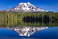 Mt Adams a dormant volcano reflects on Takhlakh Lake in the Gifford Pinchot National Forest, Cascade Mountain Range, Washington state, USA.