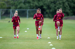 WALLASEY, ENGLAND - Wednesday, July 28, 2021: Liverpool's (L-R) Missy Bo Kearns, Taylor Hinds and Rianna Dean during a training session at The Campus as the team prepare for the start of the new 2021/22 season. (Pic by David Rawcliffe/Propaganda)